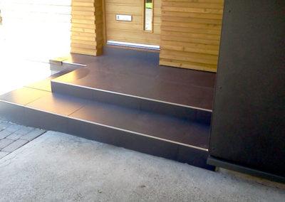 Entrance steps and floor tiling